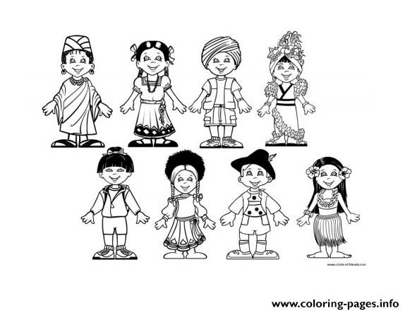 Diversity Multicultural Kids From The World Coloring Pages