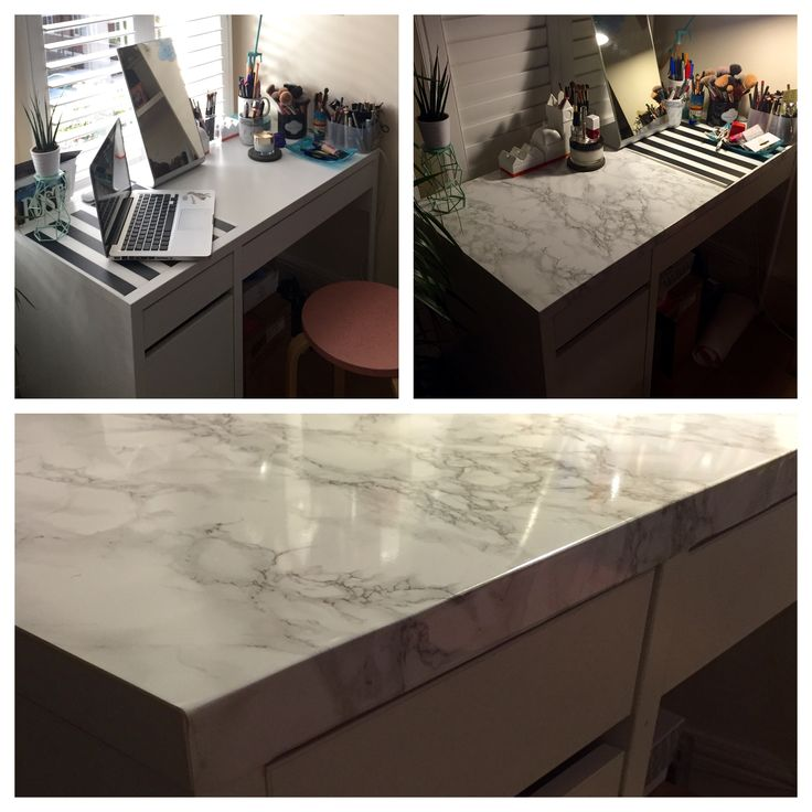 Ikea Hack Micke Marble Effect Top For 163 7 Using D C Fix