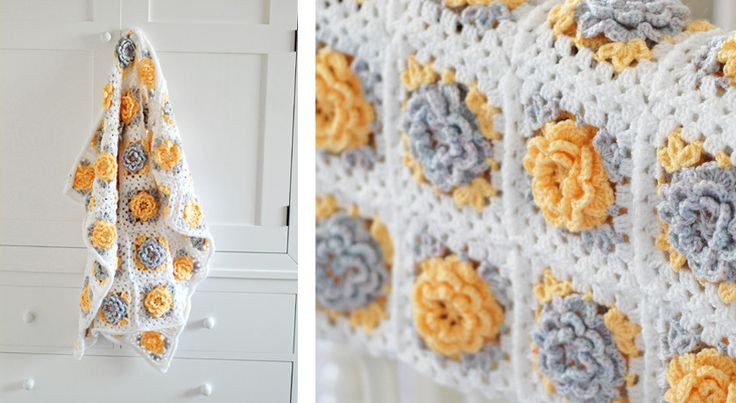 Yellow and white crochet flower granny square blanket