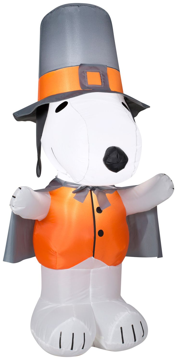 4' Airblown Snoopy as Pilgrim Thanksgiving Inflatable