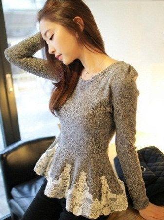 Womens Top Fashion T Shirt Tops Lace Sheer Long Sleeve Peplum Jumper Blouses on Aliexpress.com