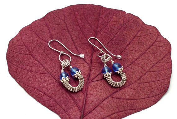 Silver and blue earrings long dangle earrings by EvAtelier1