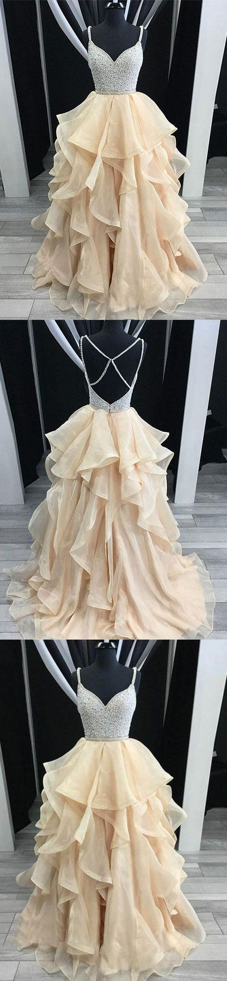 Unique champagne tulle sequin long prom dress, champagne evening dress