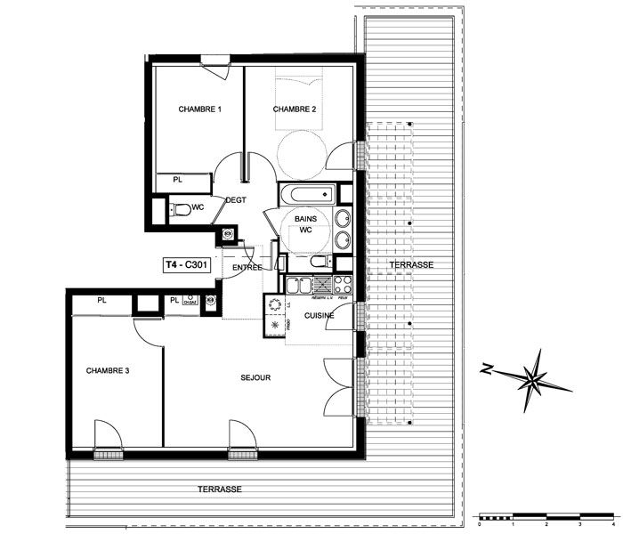 Superbe plan appartement t4 11 appartement t4 neuf for Deco appartement t4