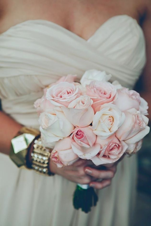 nude bridesmaids dresses + pink roses + chunky gold bangles - that's how we roll! photo by Ruby Yeo Photography   Bridal Musings