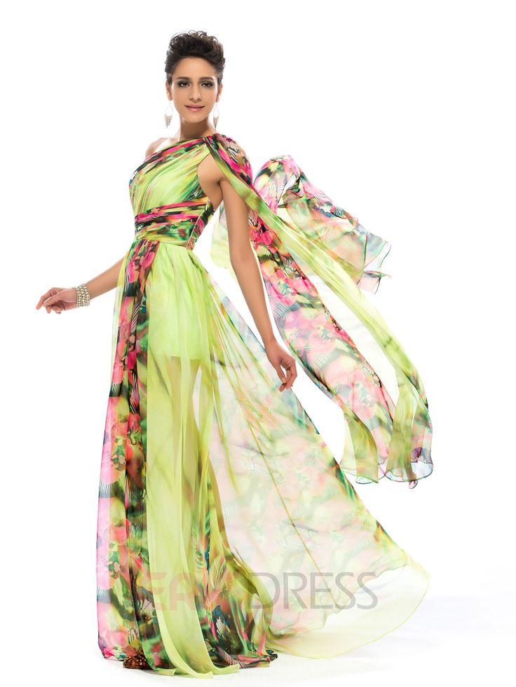 Floral Printed Split-front One Shoulder Prom Dress 3
