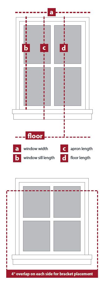 Window Guide: Installation: Measuring Guide.   See also - pdf window guide: http://www.annaslinens.com/media/wysiwyg/InfoPages/annas-window-guide-web.pdf  pdf window checklist: http://www.annaslinens.com/media/wysiwyg/InfoPages/annas-window-list-web.pdf
