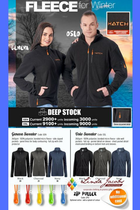 Fleece For Winter - Geneva Sweater  (ladies) and Oslo Sweater  (gents)  🧥Geneva Sweater - 260gsm, 100% polyester, bonded micro fleece, side zipped pockets, panel lines for body contouring, full zip with chin protector  🧥Oslo Sweater - 260gsm · 100% polyester, bonded micro fleece · side welt pockets · full zip · zip pocket detail on sleeve · chest pocket detail · elasticated binding on bottom hem and sleeves...  *MINIMUM QUANTITIES APPLY  http://www.lindajacobspromotions.co.za/
