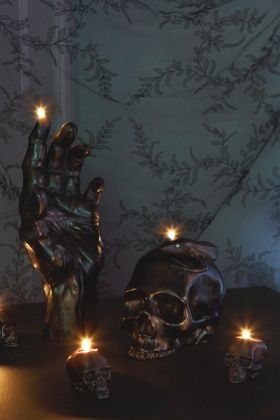 interior design, home decor, home accessories, candles, black, human body related, hands, skulls, skeletons