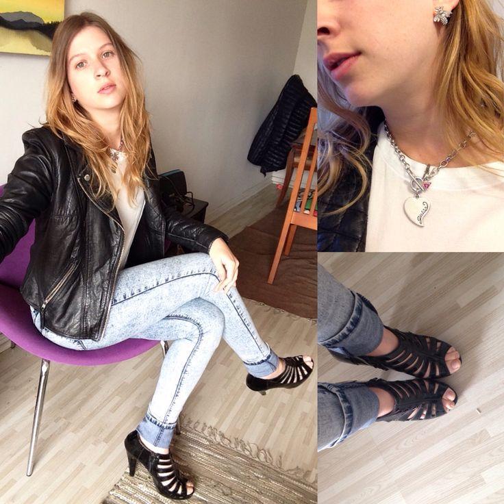 Look del día - chaqueta de cuero y zapatos steve madden