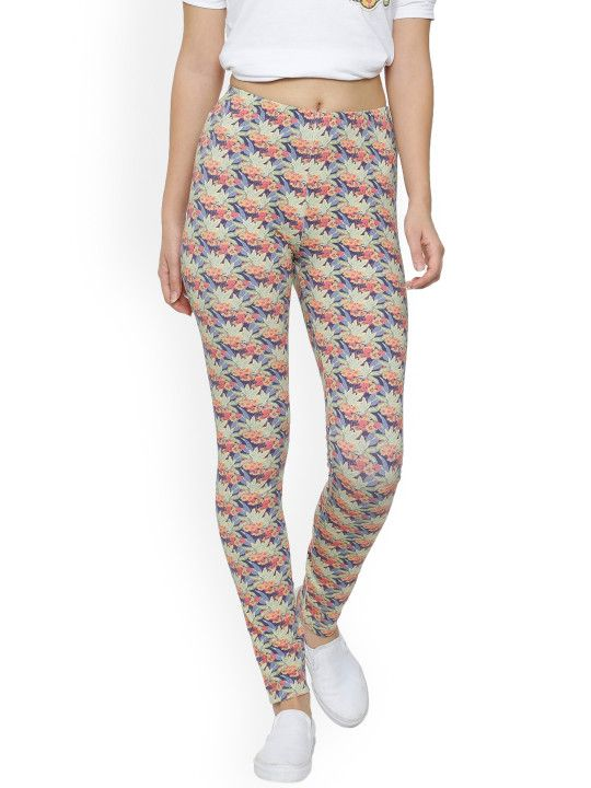 6fe3be35498ba QUANCIOUS Women Multicoloured Floral Printed Ankle-Length Leggings - | 2079