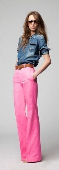 """Pink jeans ~ bucking the """"skinny jean"""" trend.  Need a pair of these!"""