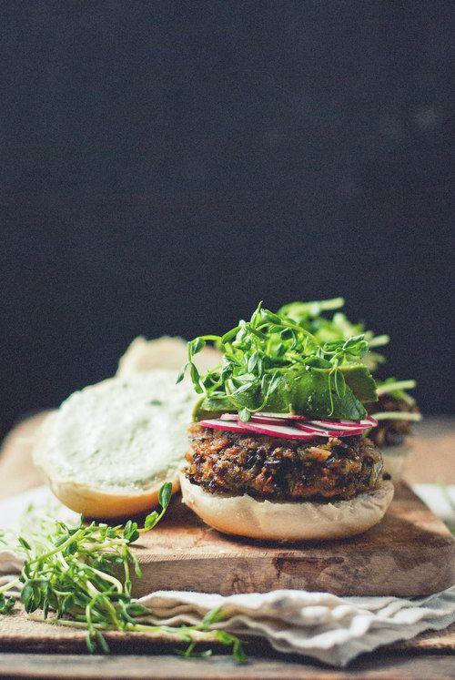 black rice & mushroom burgers with cucumber garlic yogurt