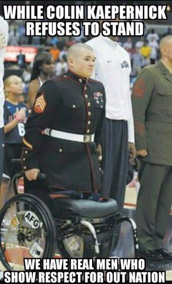 DEBRA GIFFORD (@lovemyyorkie14) | Twitter.... While #ColinKaepernick refuses to stand we have real men who show RESPECT for our nation!