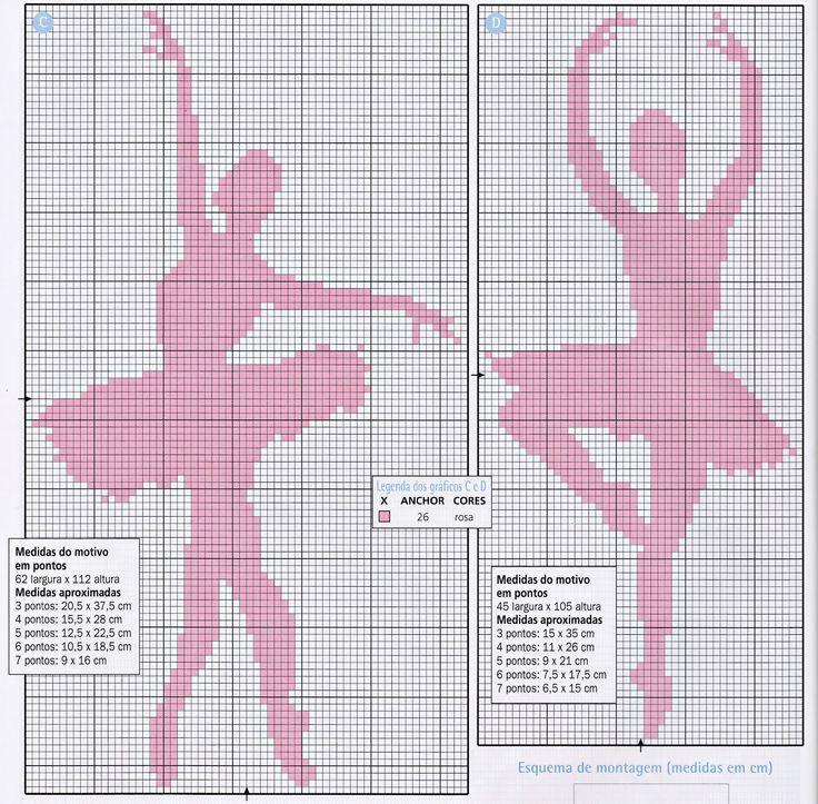Gráfico de ponto cruz bailarina. Ballerina cross stitch.