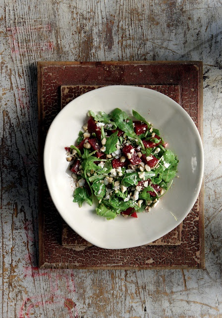 Baked beetroot salad with feta cheese and hazelnuts