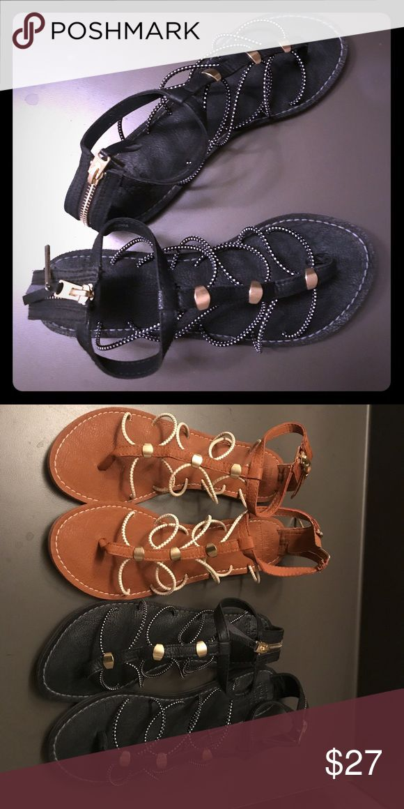 Abercrombie and fitch sandals Leather base, gold accents, elastic ropes on left and right side, and very light for comfortable wear Abercrombie & Fitch Shoes Sandals