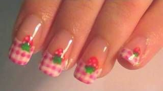 Strawberry Pink Gingham Nail Tutorial, via YouTube.