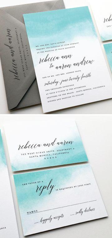 NEW Rebecca Teal Watercolor Beach Wedding Invitation