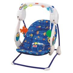 Fisher Price Aquarium Take Along Swing...best swing ever! My baby slept in this swing for weeks when he refused to sleep anywhere else and he still takes naps in it nearly everyday.  This swing has been around for 7 years and through 5 kids and is still in great shape.  Very large seat that they sink in and can just snuggle and sleep.