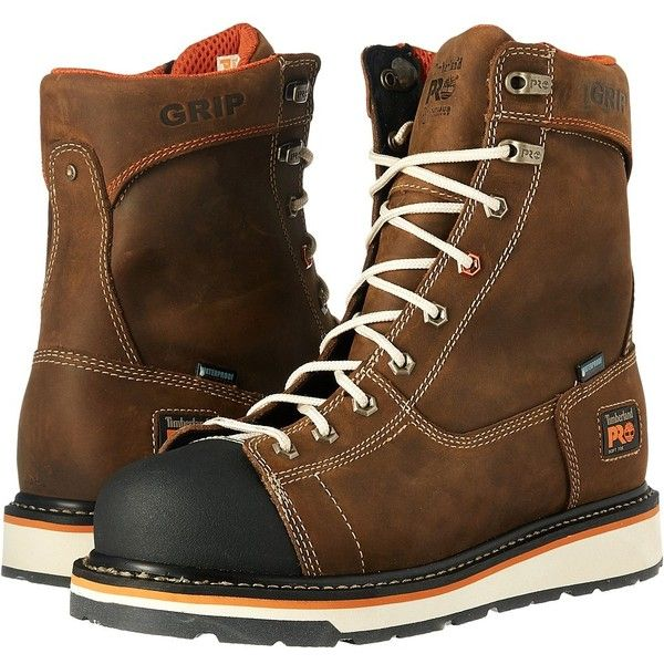 Timberland PRO Gridworks Soft Toe Waterproof Boot (Brown Full Grain... ($185) ❤ liked on Polyvore featuring men's fashion, men's shoes, men's boots, men's work boots, mens low cut work boots, mens slip on boots, men's wedge sole boots, mens waterproof work boots and mens slip on work boots