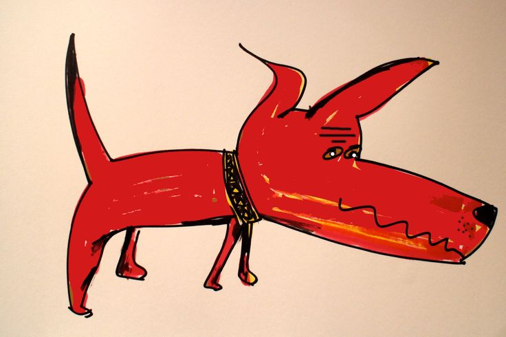 Red dog barking
