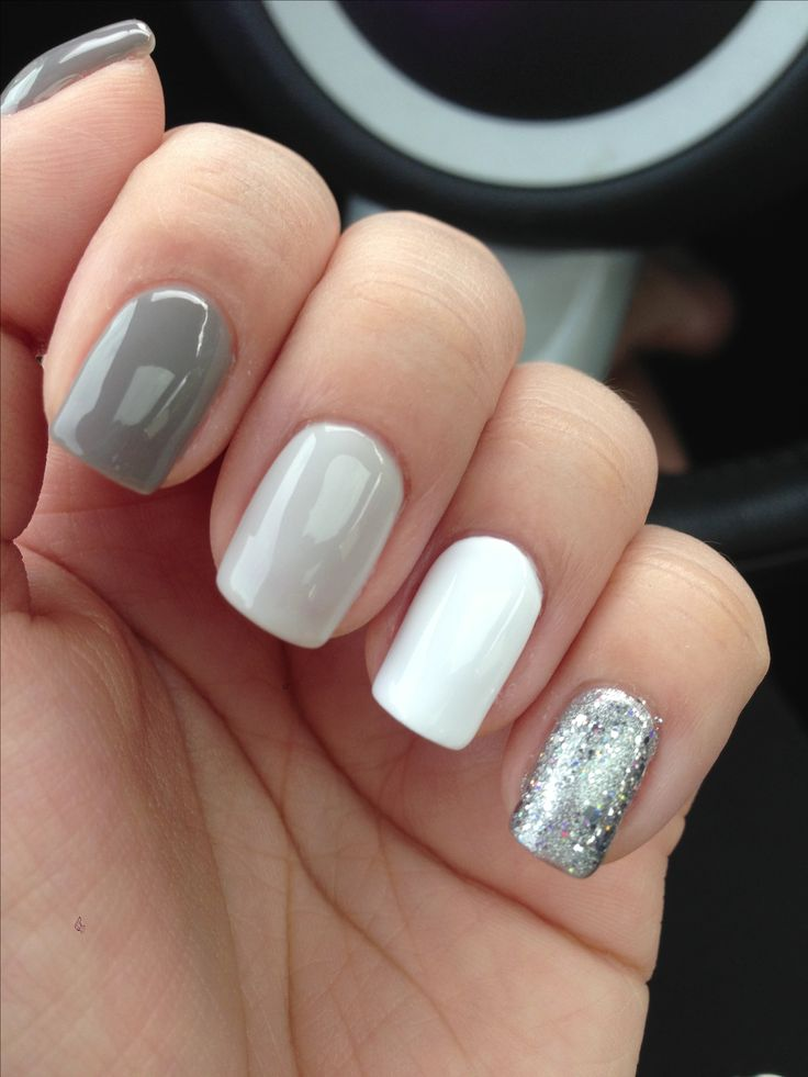 Lechat Perfect Match: Concrete Jungle, On Cloud 9, Flawless White, The Silver Screen w/ Gelish glitter on top