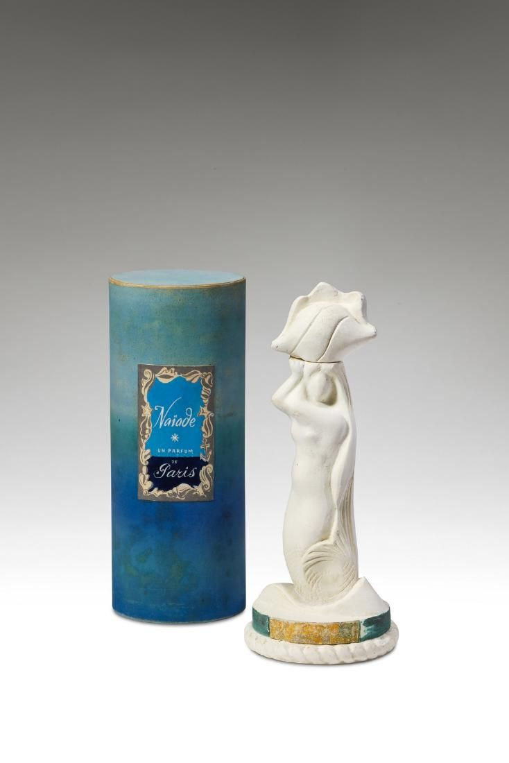 c1950 Parisiens Naiade, figural plaster perfume bottle and cover, glass liner, cork stopper, box. 7 1/4 in.