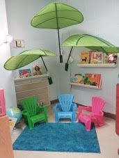 Reading Center, Ikea Leaves, Luau classroom