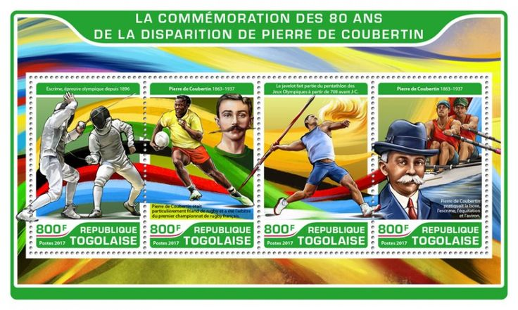 TG17210a 80th memorial anniversary of Pierre de Coubertin (Olympic fencing since 1896; Pierre de Coubertin (1863–1937), Pierre de Coubertin was particularly fond of rugby and was the referee of the first ever French championship rugby; The javelin was part of the pentathlon of the Ancient Olympic Games beginning in 708 BC; Pierre de Coubertin practiced boxing, fencing, horse riding and rowing)