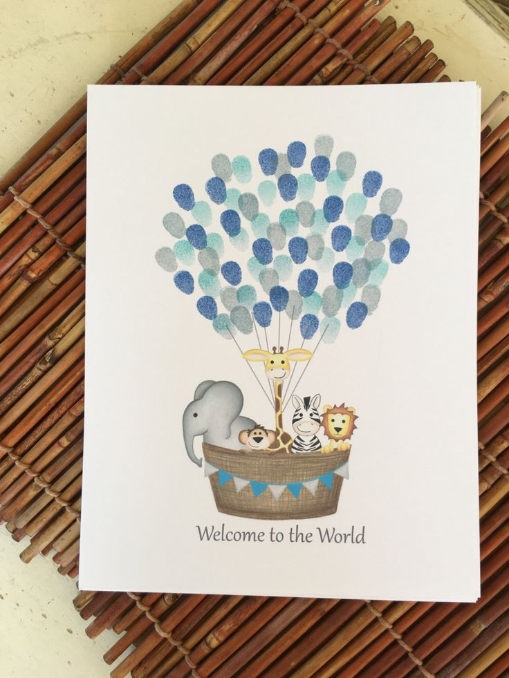 INSTANT DOWNLOAD boys nuetral jungle animal hot air balloon fingerprint guest book, balloon guest book, zoo animal theme boys baby shower - pinned by pin4etsy.com