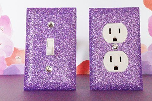 PURPLE ROOM / BEDROOM DÉCOR ***************************************************************************************************** SET OF AMETHYST GLITTER SWITCH PLATE OUTLET COVER. ALL Styles Available!