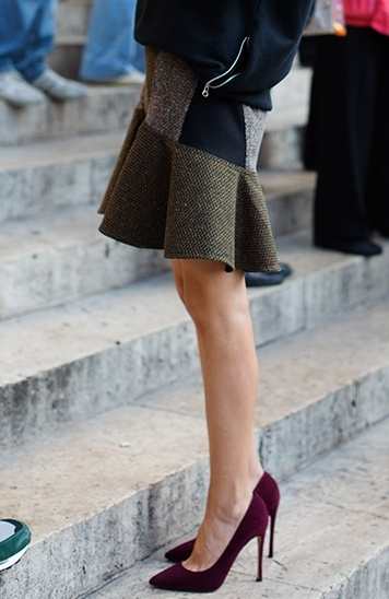 Burgundy heels, by the Sartorialist. I'm obsessed with this skirt and those shoes.
