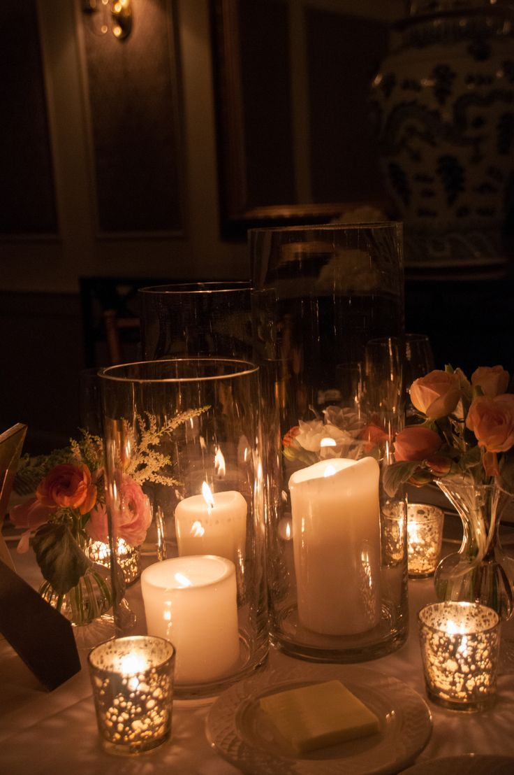 Candle And Hurricane Centerpieces Wedding Decor