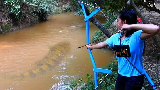 Amazing Girl Uses PVC Pipe Compound BowFishing To Shoot Fish -Khmer Fishing At Siem Reap Cambodia - YouTube