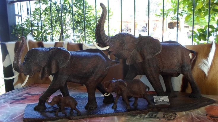 African Elephant Herd Ironwood Carving by Master Carver James Chitambire, Zimbabwe