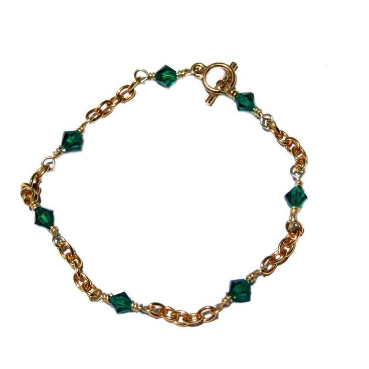 Crystal Green Wire Wrapped Bracelet by DornanDesigns