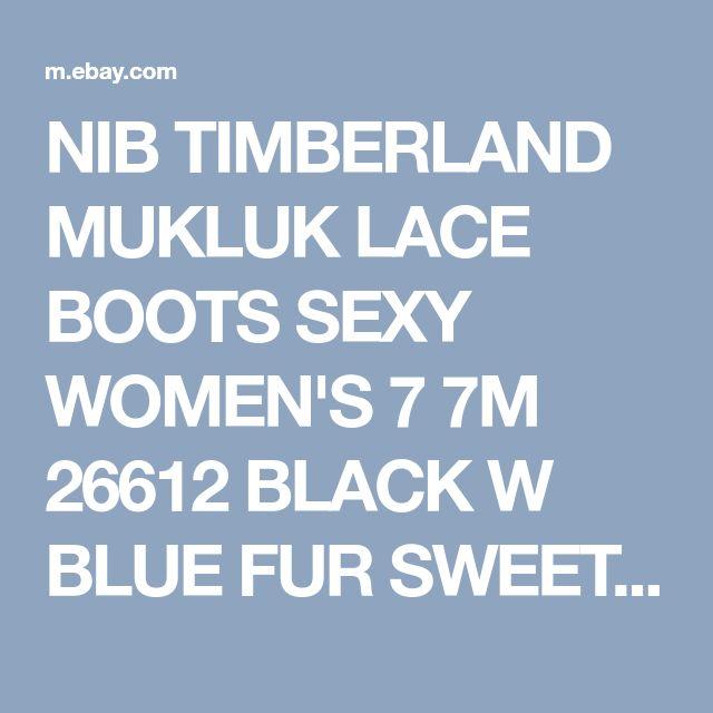 NIB TIMBERLAND MUKLUK LACE BOOTS SEXY WOMEN'S 7 7M 26612 BLACK W BLUE FUR SWEET! | eBay