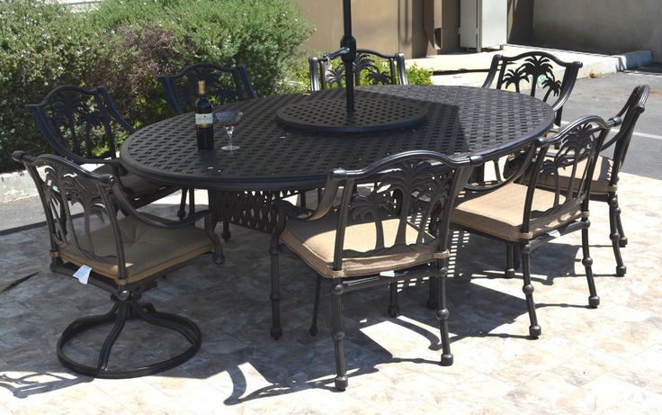 """Patio dining set cast aluminum 10 pc Nassau table 70""""x100"""" and Palm tree chairs"""