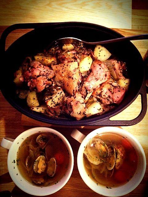 これは、定番料理ですね✨ 美味しく出来ました(((o(*゚▽゚*)o))) - 81件のもぐもぐ - 若鶏のオーブン焼き&あさりスープ by hiromi