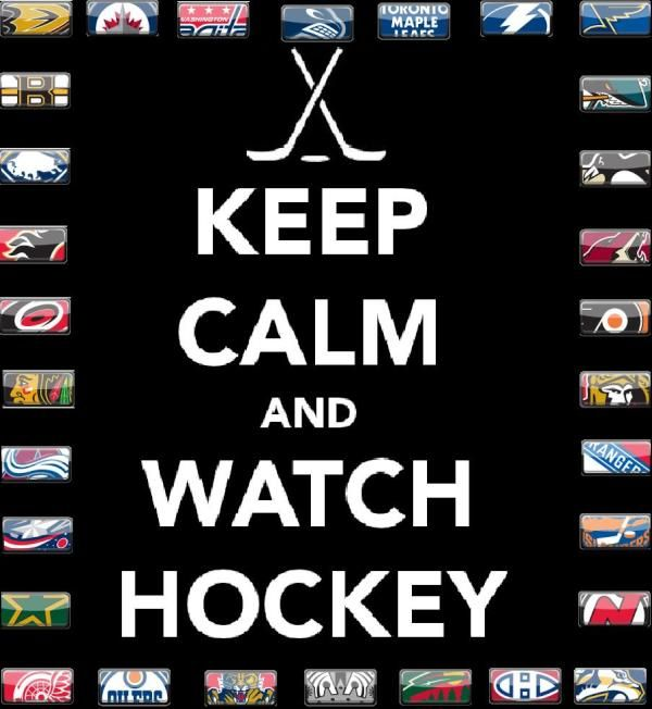 keep calm and watch hockey! the oilers on the  botton second left rocks