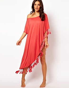Image 4 of MinkPink One Shoulder Tassel Beach Kaftan