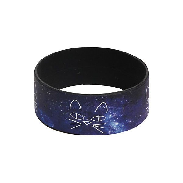 Cat Face Galaxy Rubber Bracelet | Hot Topic ($4) ❤ liked on Polyvore featuring jewelry, bracelets, cat bangle, rubber bangles, rubber bracelet, cosmic jewelry and cat bracelet