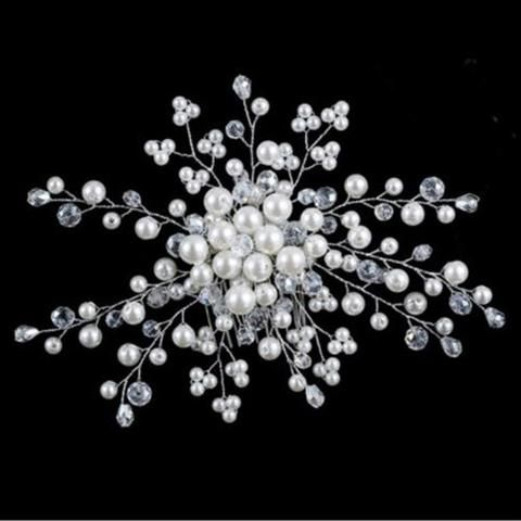 Stunning Pearl and Crystal Flower Spray Bridal Comb - UCHARMME.co.nz - 1