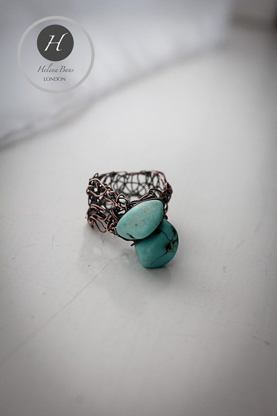 Copper Crochet Turquoise Ring brown-blue by HelenaBausJewellery
