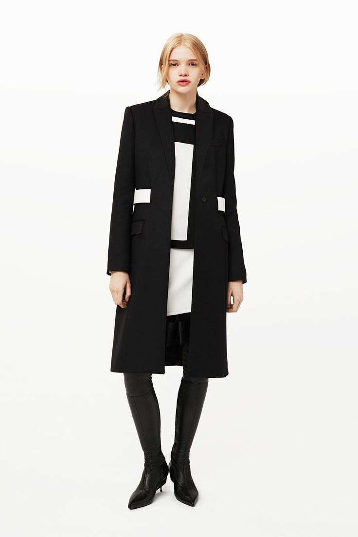 Givenchy | Pre-Fall 2015 | 03 Black long sleeve coat, monochrome top and mini skirt