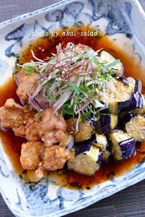 鶏なす中華南蛮 by 長岡美津恵akai-salad / 鶏の唐揚げと揚げ茄子を中華南蛮ダレに合わせたボリュームたっぷりの一品です。千切りの薬味をふんわり天盛りにして風味良く頂きましょう。 / Nadia