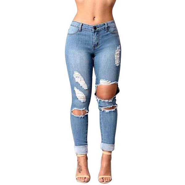 Womens Slimming Ripped Cut Out Denim Jeans Blue (2755 RSD) ❤ liked on Polyvore featuring jeans, blue, ripped jeans, slim jeans, distressed slim jeans, destroyed jeans and distressed jeans