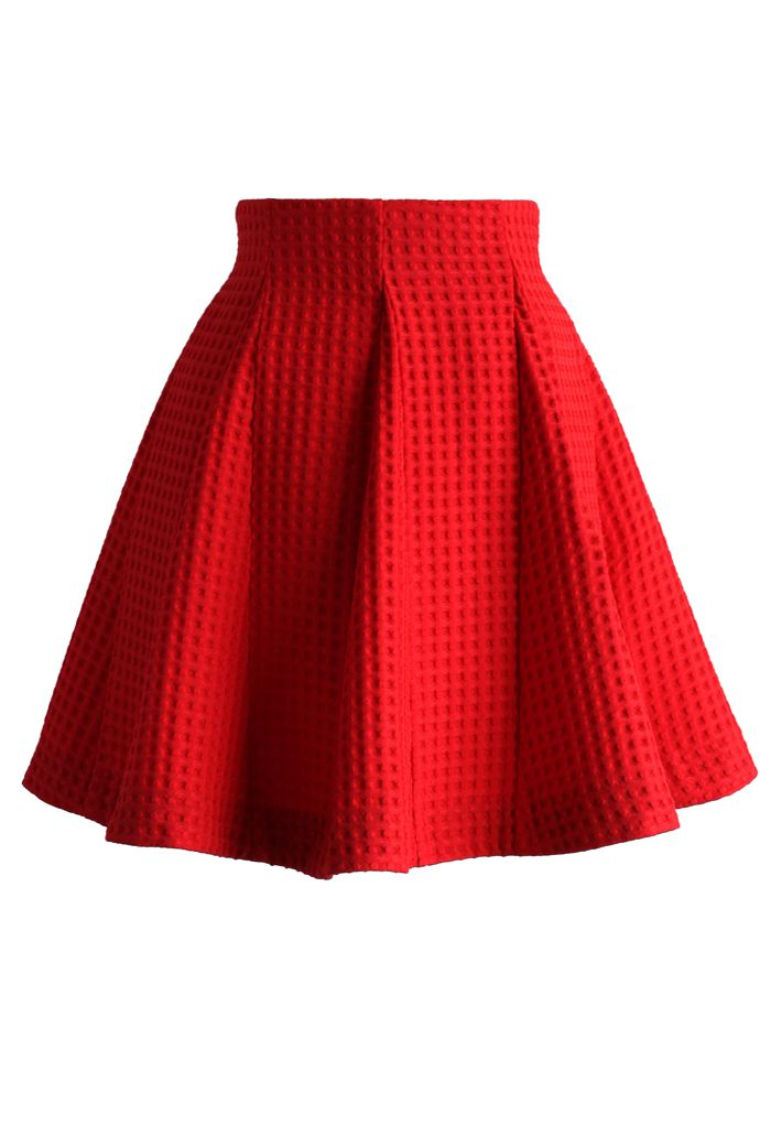 Red Skater Skirt in Waffle Pattern - Retro, Indie and Unique Fashion
