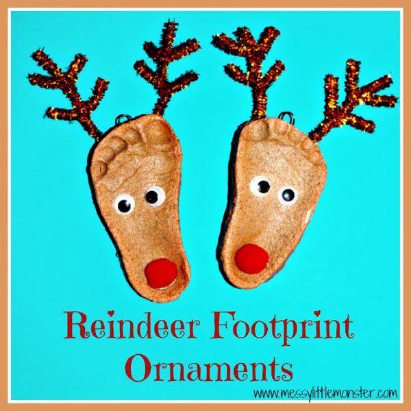 Reindeer Footprint Ornaments using Salt Dough